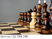 Купить «Белая пешка в ряду черных фигур, шахматы», фото № 22784740, снято 30 января 2016 г. (c) Рамиль Гибадуллин / Фотобанк Лори
