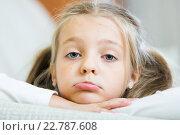 Купить «Bored little girl being lonely in couch at home», фото № 22787608, снято 15 августа 2018 г. (c) Яков Филимонов / Фотобанк Лори