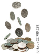 Купить «Монеты, падающие вниз, изолировано на белом», фото № 22789228, снято 24 апреля 2018 г. (c) Владимир Мельников / Фотобанк Лори