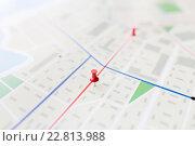 Купить «close up of map or city plan with pin», фото № 22813988, снято 22 марта 2016 г. (c) Syda Productions / Фотобанк Лори