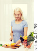Купить «smiling young woman chopping vegetables at home», фото № 22814796, снято 26 апреля 2015 г. (c) Syda Productions / Фотобанк Лори