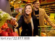 Купить «Couple choosing vegetables in a grocery store», фото № 22817808, снято 9 октября 2015 г. (c) Andrejs Pidjass / Фотобанк Лори