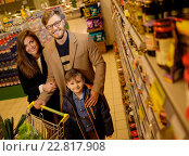 Купить «Young family in a grocery store», фото № 22817908, снято 9 октября 2015 г. (c) Andrejs Pidjass / Фотобанк Лори