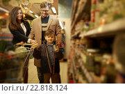 Купить «Young family in a grocery store», фото № 22818124, снято 9 октября 2015 г. (c) Andrejs Pidjass / Фотобанк Лори