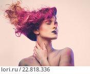 Купить «Beautiful woman with magnificent galaxy hair», фото № 22818336, снято 2 декабря 2015 г. (c) Andrejs Pidjass / Фотобанк Лори