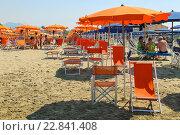 Оранжевые зонты и шезлонги на пляже в Виареджо, Италия (2015 год). Редакционное фото, фотограф Николай Кокарев / Фотобанк Лори