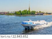 "Купить «Судно ""Метеор"" (ракета) плывет по Неве. Санкт-Петербург», фото № 22843652, снято 10 мая 2016 г. (c) Sergei Gushchin / Фотобанк Лори"