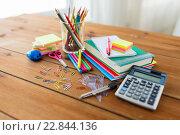 Купить «close up of stationery or school supplies on table», фото № 22844136, снято 17 марта 2016 г. (c) Syda Productions / Фотобанк Лори