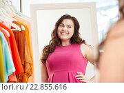 Купить «happy plus size woman posing at home mirror», фото № 22855616, снято 21 февраля 2016 г. (c) Syda Productions / Фотобанк Лори