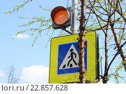 """Купить «Оранжевый светофор над дорожным знаком """"Пешеходный переход""""», эксклюзивное фото № 22857628, снято 30 апреля 2016 г. (c) Наталья Горкина / Фотобанк Лори"""