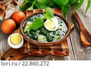 Купить «Щи из молодой крапивы с яйцом в керамической тарелке на деревянном столе», фото № 22860272, снято 15 мая 2016 г. (c) Надежда Мишкова / Фотобанк Лори