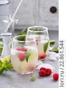 Купить «Холодный летний коктейль с лаймом и малиной», фото № 22861544, снято 10 мая 2016 г. (c) Елена Веселова / Фотобанк Лори