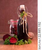 Купить «Red beet juice and marinated red beet», фото № 22885192, снято 10 июля 2020 г. (c) easy Fotostock / Фотобанк Лори