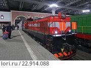 Купить «Маневровый тепловоз ТЭМ-ТМХ с двухэтажным поездом на платформе Казанского вокзала ночью», эксклюзивное фото № 22914088, снято 29 апреля 2016 г. (c) Алексей Гусев / Фотобанк Лори