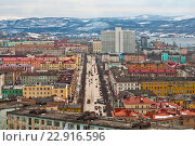 Купить «Вид на город Мурманск», фото № 22916596, снято 7 апреля 2016 г. (c) Ирина Здаронок / Фотобанк Лори