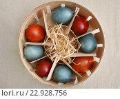 Купить «Яйца, крашенные отваром луковой шелухи и отваром каркаде», эксклюзивное фото № 22928756, снято 30 апреля 2016 г. (c) Dmitry29 / Фотобанк Лори