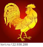 Купить «Пылкий золотой огненный петух на красном фоне. Красный огненный петух - символ 2017 года по китайскому восточному гороскопу.», иллюстрация № 22938288 (c) Анастасия Некрасова / Фотобанк Лори