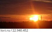 Купить «Красный закат, таймлапс», видеоролик № 22940452, снято 20 мая 2016 г. (c) Алексей Ларионов / Фотобанк Лори