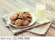 Купить «close up of chocolate oatmeal cookies and milk», фото № 22940588, снято 22 мая 2015 г. (c) Syda Productions / Фотобанк Лори