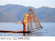 Купить «Myanmar (Burma), Province Shan, Inle Lake, Nyaungshwe Village, Intha fisherman fishing in the lake, Traditional fishing creels», фото № 22944032, снято 8 декабря 2015 г. (c) age Fotostock / Фотобанк Лори