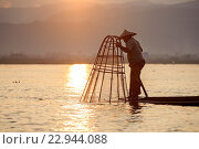 Купить «Myanmar (Burma), Province Shan, Inle Lake, Nyaungshwe Village, Intha fisherman fishing in the lake, Traditional fishing creels», фото № 22944088, снято 8 декабря 2015 г. (c) age Fotostock / Фотобанк Лори