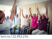 Купить «Seniors doing exercises», фото № 22953216, снято 22 марта 2016 г. (c) Wavebreak Media / Фотобанк Лори