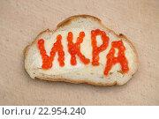 Купить «Слово икра на на бутерброде, выложенное икринками», эксклюзивное фото № 22954240, снято 1 апреля 2015 г. (c) Dmitry29 / Фотобанк Лори