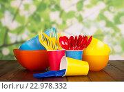 Купить «Одноразовая посуда», фото № 22978332, снято 20 августа 2015 г. (c) Сергей Молодиков / Фотобанк Лори