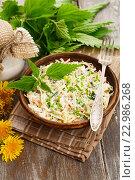 Купить «Салат из крапивы с капустой и зеленым луком в керамической тарелке на деревянном столе», фото № 22986268, снято 25 мая 2016 г. (c) Надежда Мишкова / Фотобанк Лори