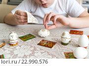 Купить «Boy sticks stickers on Easter eggs», фото № 22990576, снято 30 апреля 2016 г. (c) Володина Ольга / Фотобанк Лори