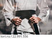 Купить «Composite image of fighter tightening karate belt», фото № 22991556, снято 18 августа 2019 г. (c) Wavebreak Media / Фотобанк Лори