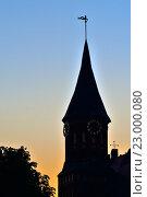Купить «Башня Кафедрального собора на фоне заката. Калининград, Россия», фото № 23000080, снято 20 мая 2016 г. (c) Сергей Трофименко / Фотобанк Лори
