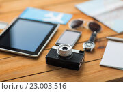 close up of camera, gadgets and personal stuff. Стоковое фото, фотограф Syda Productions / Фотобанк Лори