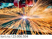 CNC Laser cutting of metal, modern industrial technology. Стоковое фото, фотограф Андрей Армягов / Фотобанк Лори