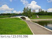 Пешеходный мост через протоку между прудами. Олимпийские пруды. Москва (2016 год). Стоковое фото, фотограф lana1501 / Фотобанк Лори