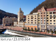 Купить «Ski resort in the Valley Rosa Khutor. Sochi, Russia», фото № 23010664, снято 10 февраля 2016 г. (c) Сергей Лаврентьев / Фотобанк Лори