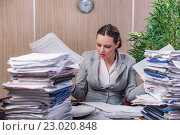 Купить «Businesswoman under stress working in the office», фото № 23020848, снято 28 апреля 2016 г. (c) Elnur / Фотобанк Лори