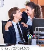 Купить «Boss touching assistant at work in office», фото № 23024576, снято 27 февраля 2020 г. (c) Яков Филимонов / Фотобанк Лори