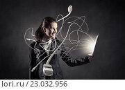 Купить «Woman with tablet pc», фото № 23032956, снято 20 февраля 2019 г. (c) Sergey Nivens / Фотобанк Лори