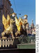 Купить «Скульптуры крылатых львов (мифических грифонов) на Банковском мосту в Санкт-Петербурге», фото № 23033328, снято 4 мая 2016 г. (c) Виктория Катьянова / Фотобанк Лори