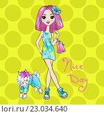 Купить «Векторный поп-арт, милая модная девушка с собакой», иллюстрация № 23034640 (c) Коваленкова Ольга / Фотобанк Лори