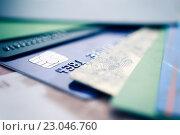 Купить «Пластиковые банковские карты», фото № 23046760, снято 13 ноября 2014 г. (c) Валерия Потапова / Фотобанк Лори