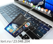 Купить «Credit card phishing concept. Hook with credit card and laptop computer keyboard.», фото № 23048204, снято 11 декабря 2018 г. (c) Maksym Yemelyanov / Фотобанк Лори