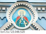 Купить «Илиия пророк. Икона над входом церкви Илии Пророка. Саки, Крым», эксклюзивное фото № 23048520, снято 26 мая 2016 г. (c) Александр Щепин / Фотобанк Лори
