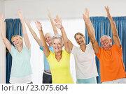 Купить «Instructor doing exercises with seniors», фото № 23075604, снято 2 марта 2016 г. (c) Wavebreak Media / Фотобанк Лори