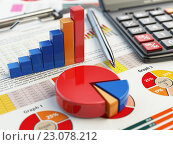Business financial chart graph on clipboard isolated on white. Accounting, tax financial report concept. Стоковое фото, фотограф Maksym Yemelyanov / Фотобанк Лори