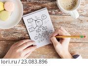 Купить «close up of hands drawing scheme in notebook», фото № 23083896, снято 10 октября 2014 г. (c) Syda Productions / Фотобанк Лори
