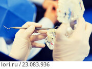 Купить «close up of dentist with teeth and dental probe», фото № 23083936, снято 23 мая 2015 г. (c) Syda Productions / Фотобанк Лори