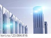 Купить «Городская архитектура, вид бетонных стен и колонн в футуристическом стиле», фото № 23084816, снято 3 мая 2016 г. (c) Зезелина Марина / Фотобанк Лори