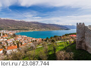 Ohrid city and lake overview with Castle of Samuil in foreground. Macedonia. Стоковое фото, фотограф Luis Fernando Dafos / age Fotostock / Фотобанк Лори